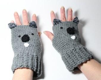 Koala Fingerless Gloves, Crochet Animal Mitts, Gray Fingerless Mittens, Winter Hand Warmers
