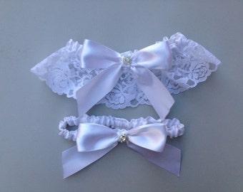 White Wedding Garter - Beautiful Bridal White Satin Garter Set ... with Rhinestone details...