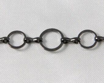 Large Circle Link Chain Gunmetal 3 Feet