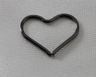 6 pcs - 15mm Heart Link Connectors Gunmetal