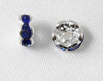 10 pcs - 6mm Rhinestone Rondelles Silver With Sapphire Blue