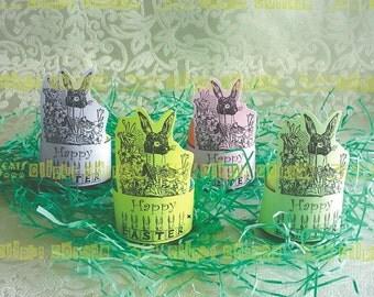 Edwardian Easter Bunny Four Egg or Candy Holders Instant Digital Download