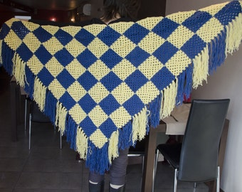 Triangle Scarf Shawl in Blue Yellow granny squares Crochet Handmade