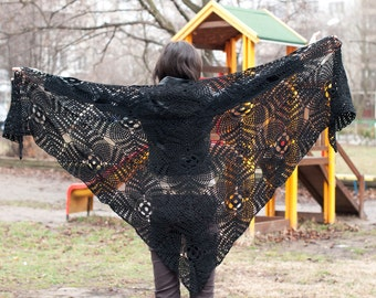Black triangle scarf shawl - viscose and cotton unique handmade crochet