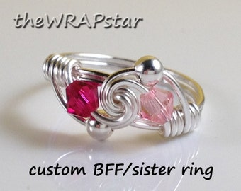 Handmade Wire Jewelry Birthstone Jewelry Birthstone Ring Wire Wrapped Ring Personalized Jewelry Family Ring BFF Ring Handmade ITEM0301