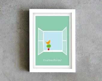 Beautiful day art print, Inspirational print, motivational print, cyan blue art print, wall decoration, positive thinking