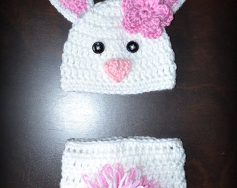 Crochet Easter Bunny Baby Beanie Hat & Diaper Cover Photo Prop Custom Made Boy Girl Rabbit