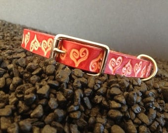 Small Red Leather Dog Collar With Imprinted Vintage Hearts