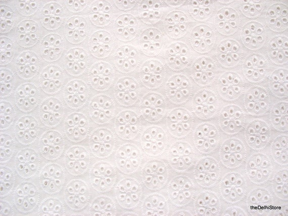 White Eyelet Fabric Embroidered White Cotton Fabric Remnant