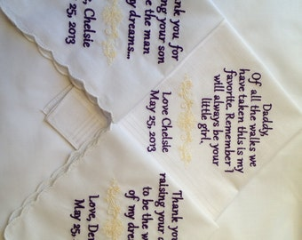 gift set of three wedding personalized handkerchiefs father of the bride mother of the bride mother of the groom