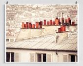 Paris photography - Paris rooftops,Paris photo,Fine art photography,Red,Paris decor,8x10 wall art,white,Art prints,Art Posters,Paris art