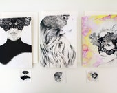 3 BLANK Greeting Card PACK / SET - 5 x 7 - Face of Lace Art Collection