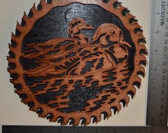 Wood Duck Saw Blade Scroll Saw Wall Plaque