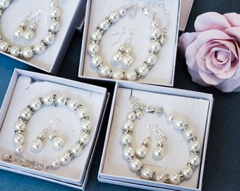 50% OFF SALE 6 Bridesmaids gifts-Pearl Jewelry sets with Bracelet and Earrings (15 COLORS Available)