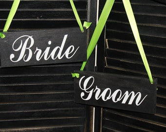 BRIDE - GROOM  Chair Signs/Photo Prop/U Choose Colors/Great Shower Gift/Black/White/Lime Green