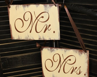 MR - MRS Chair Signs/Wedding Sign/Photo Prop/U Choose Colors/Great Shower Gift/Brown/Ivory