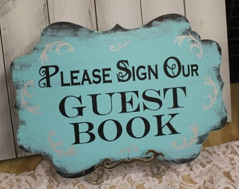 Wedding Sign Guest Book Sign/Please Sign Our/Photo Prop/U Choose Colors/Great Shower Gift/Light Aqua/Silver