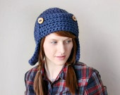 Camping Hiking Hat with Earflaps and Tree Branch Buttons - Navy Blue (Made To Order)