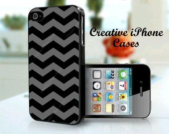 iPhone 6 Case Grey and Black Chevron Pattern iPhone 5C, iPhone 5/5s, iPhone 4/4s Case Cover
