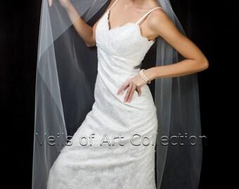 Designer Bridal Waltz 1 Tier Veil with Raw Edge Style VE222