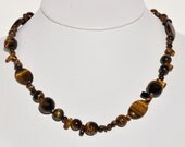 10% Off SALE --14k Gold-filled Tiger's Eye Beaded Necklace, 17""