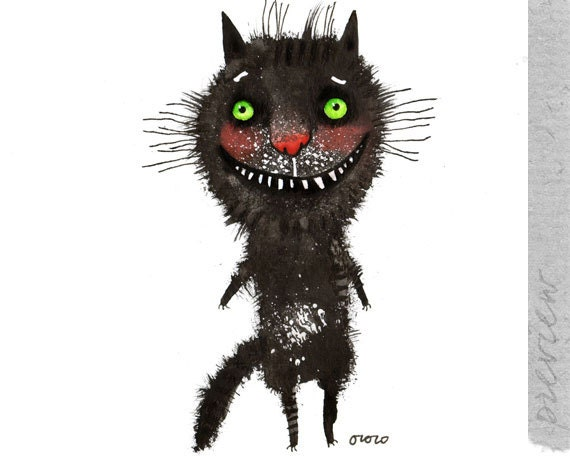 The black cat with green eyes, original painting by ozozo