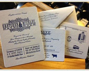 Custom Letterpress Wedding Invitation (Navy)