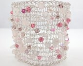 Knitted wire bracelet, wide cuff bracelet, with Rose Quartz and pink Swarovski Crystals and pearls