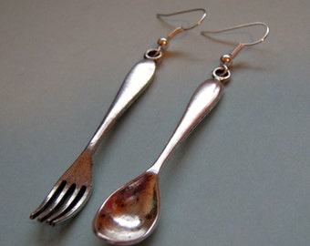 Dinner Time Assymetrical  Fork And Spoon Earrings