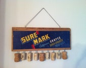 Wall decor, upcycled wooden crate end, grapes and wine corks