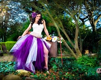 adult tutu, adult tutu dress, wedding, steampunk clothing, gothic dress, purple plum ivory, romantic goth, prom dress