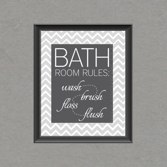 Free Printable Bathroom Pictures: Items Similar To Chevron Bathroom Wall Art, PRINTABLE On Etsy