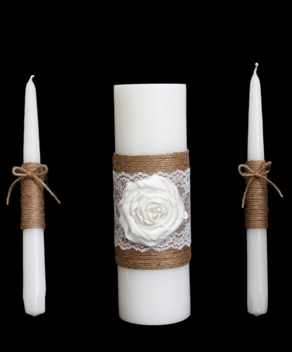 Rustic Wedding Candle Set Rustic Wedding Unity Candle Burlap