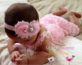 Light Pink Vintage Lace Petti Romper - Newborn - Baby Girl - Toddler- birthday outfit-  easter outfit - photo prop- pink romper