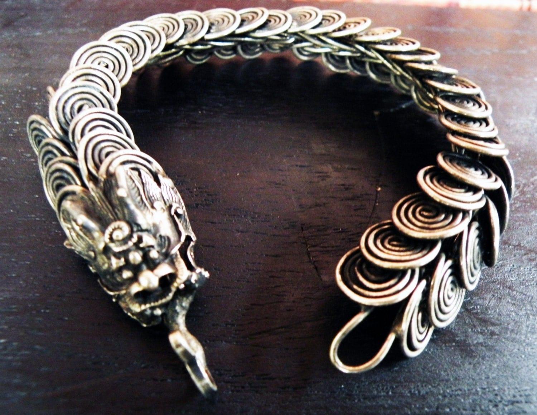 silver coil dragon miao hmong tribal bracelet