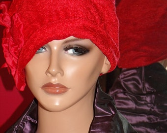 Red Flapper Hat Cloche 1920 style Personalized  Antique style  Headpiece Fringe