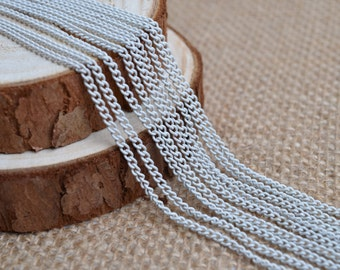 16ft of 2.7x2mm Round Link,White Iron Cross Round Cable Chain--Unsoldered,Nickel and Lead Free