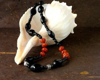 Power Necklace of Obsidian, Black Pearl, Carnelian and Sterling Silver