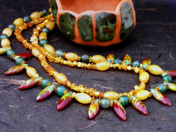 Honey Jade, Amber, Green Aventurine and Czech Glass Necklace