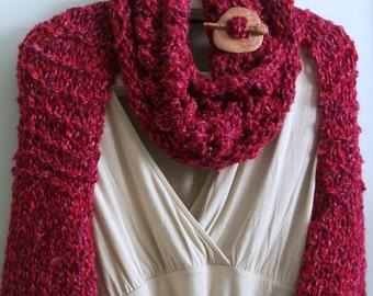 SHRUG WOMENS KNITTED  Handmade        Bulky  Long sleeves  Free cowl   Teens   Women Warm  Gift