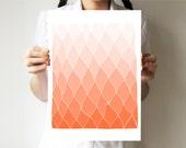 "Salmon - Hands drawing base - Geometric print 11""x14"" or 30""x40"" - Abstract art - Coral pink - Ombre - villavera"