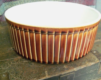 Vintage Scalloped Brown Pottery Casserole
