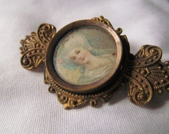 Antique Victorian French Brooch Victorian Lady Profile Edwardian Cameo Brooch