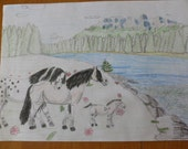 We are family cutest drawing by Laura Horsefamily with adorable filly