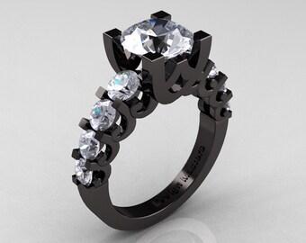 Modern Vintage 14K Black Gold 3.0 Carat White Sapphire Designer Wedding Ring R142-14KBGWS