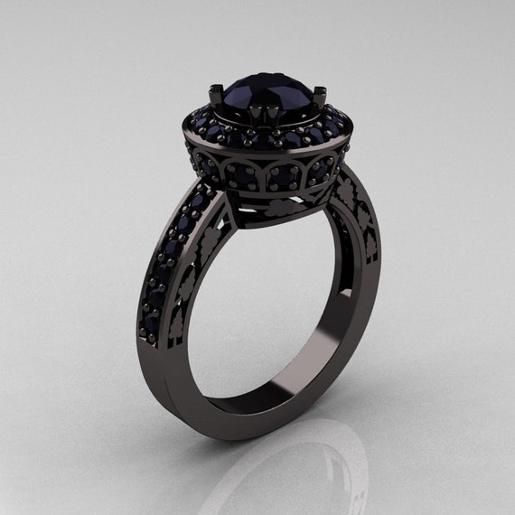 Eccezionale 14K oro nero 10 carati diamante nero anello nuziale anello WH16