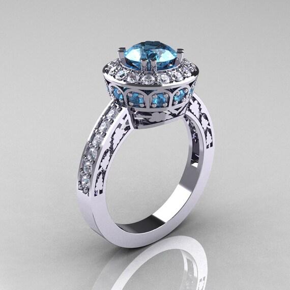 14K White Gold 1.0 Carat Aquamarine Diamond Wedding Ring, Engagement Ring R199-14KWGDAQ