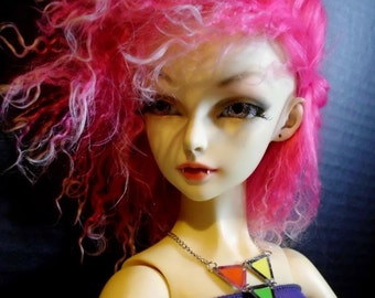 Doll Necklace -  Neon Triangles - for BJD ball joint dolls, SD, MSD, American Model, Dollfie Dream, Obitsu - statement necklace