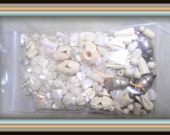 destash bag- vintage faux carved ivory beads, vintage silver spacers and mother of pearl shell chips