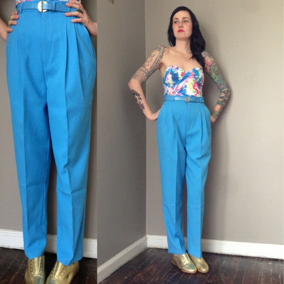 High Waist Pleated Pant // Vintage High Wasted Trouser // Baby